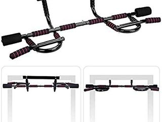 AmazeFan Pull Up Bar Doorway with Ergonomic Grip   Fitness Chin Up Frame for Home Gym Exercise   2 Professional Quality Wrist Straps   Workout Guide   No Installation Needed Fits Almost All Doors