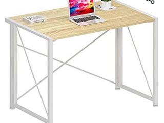 Folding Computer Desk Modern Writing Study Desk Industrial Simple laptop Table for Home Office Notebook Desk  Oak White   Not Inspected