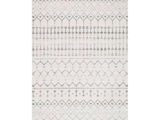 nulOOM Moroccan Blythe Area Rug  4  x 6  Grey Off white