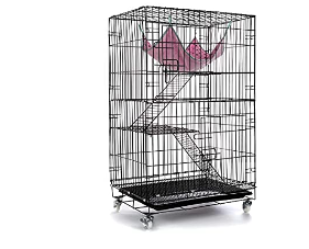 AVEEN 3 Tier Small Cat Cage Playpen Box Kennel Crate with 2 Front Doors   Free Hammock   40 x 24 x 17 Inchesi1 4Blacki1 4  NOT INSPECTED