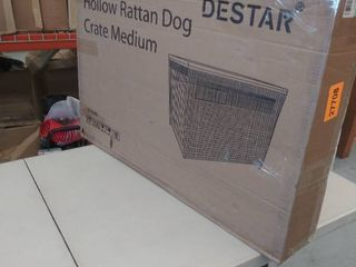 DEStar Heavy Duty PE Rattan Wicker Pet Dog Cage Crate Indoor Outdoor Puppy House Shelter with Removable Tray and UV Resistant Cover  Medium   23  W x 25  H