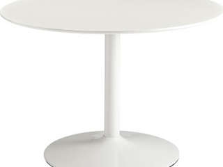 Neos Modern Furniture Round Wood Top Chrome Base Dining Table  35 5  White  NOT INSPECTED