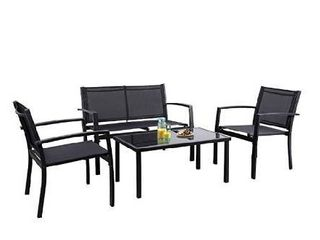 complete set Flamaker 4 Pieces Patio Furniture Outdoor furniture Outdoor Patio Furniture Set Textilene Bistro Set Modern Conversation Set Black Bistro Set with loveseat Tea Table for Home  lawn and Balcony  Black