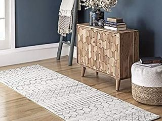 nulOOM Moroccan Blythe Runner Rug  2  8  x 8  Grey Off white  Stained