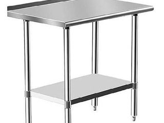 Stainless Steel Table for Prep   Work 24 x 30 Inches  NSF Commercial Heavy Duty Table with Undershelf and Backsplash for Restaurant  Home and Hotel