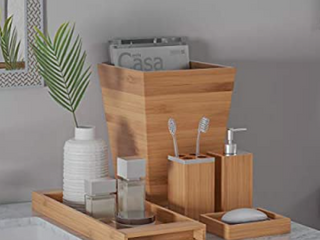 lavish Home Bamboo Bath Accessories 5 Piece Set Natural Wood Tray lotion Dispenser  Soap Dish  Toothbrush Holder  Wastebasket Bathroom and Vanity   No Wastebasket