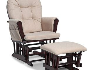 Stork Craft Hoop Glider and Ottoman Set  Cherry Beige HARDWARE MAY VARY  NOT FUllY INSPECTED OUTSIDE BOX