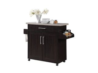 Hodedah Kitchen Island with Spice Rack  Towel Rack   Drawer  Chocolate with Grey Top
