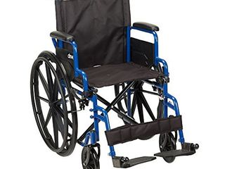 Drive Medical Blue Streak Wheelchair with Flip Back Desk Arms  Swing Away Footrests  18 Inch Seat