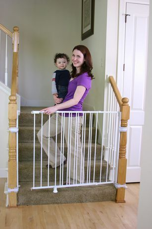 Regalo Extra Tall and Wide 2 in 1 Stairway and Hallway Wall Mounted Baby Gate  Bonus Kit  Includes Banister and Wall Mounting Kit   Not Inspected