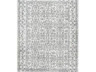 nulOOM Brigette Vintage Floral Area Rug  4  x 6  Grey