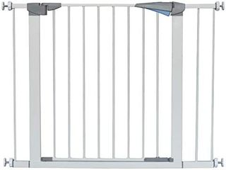 lEMKA Walk Thru Baby Gate  31 41 inch Auto Close Safety Pet Gate Metal Expandable Dog Gate with Pressure Mount for Stairs Doorways Banister  31 41  Wide  White