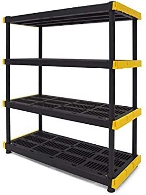 Original Black   Yellow 4 Tier Storage Shelving Unit  Indoor Outdoor DAMAGED  NOT FUllY INSPECTED OUTSIDE BOX