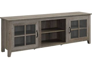 70  Farmhouse Wood TV Stand with Glass Doors   Grey Wash   Not Inspected