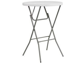 Flash Furniture 32 Inch Round Granite Plastic Bar Height Folding Table  White
