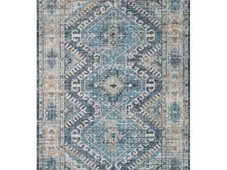 loloi ll Skye Collection Printed Distressed Vintage Area Rug  2 6  x 7 6  Denim Natural