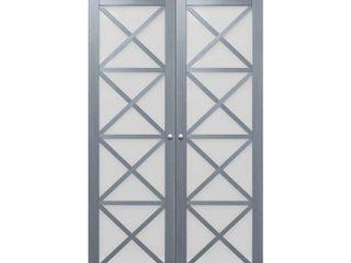 TRUporte 48 in  x 78 62 in  Full lite Frosted Glass Solid MDF Core in Graphite Grey Crochet MDF Interior Closet Bi Fold Door  Gray