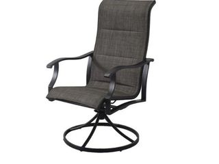 2x Style Selections Skytop Black Metal Swivel Dining Chair s  Gray Sling Seat