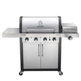 Char Broil Commercial Stainless Black 4 Burner  32 000 BTU  liquid Propane Gas Grill with Side Burner