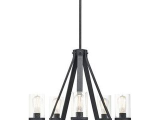 Kichler Barrington 5 light Distressed Black and Wood Tone Rustic Clear Glass Candle Chandelier