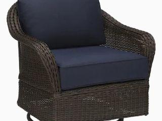 allen   roth McAden Set of 2 Dark Brown Wicker Metal Swivel Glider Conversation Chair s  with Blue Cushioned Seat retails   628