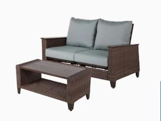 allen   roth Wylie Cove 2 Piece Metal Frame Patio Conversation Set with Cushions