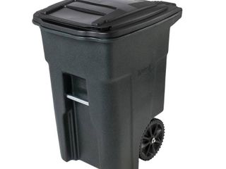 Toter 025548 R1GRS Residential Heavy Duty 2 Wheeled Trash Container Cart with Attached lid  48 Gallon  Greenstone