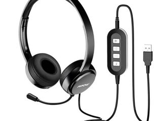 Mpow USB Headset with Noise Reduction Sound Card  In line Control  Protein Memory Earmuffs for Skype Calls with Mac and PC