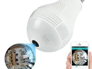 360 Degrees light Bulb Wireless AP Camera Wi Fi Panoramic lamp FishEye lens   White   960p