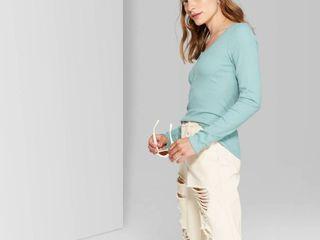Women s long Sleeve Henley T Shirt   Wild Fable Teal Blush S