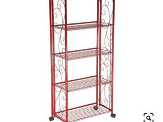 Cook s Essentials 5 Tier Deluxe Folding Storage Rack   Red