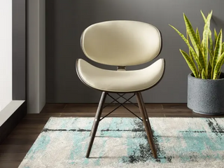 Beige 2Chairs  Corvus Madonna Mid century Walnut and Black Finish Accent Chair  Retail 212 99