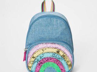 Toddler Girls  Rainbow Print Denim Backpack   Cat   Jack Blue