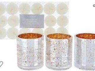 HomeWorx by Harry Slatkin Set of 3 Mercury Style Votives with Tealights Champagne