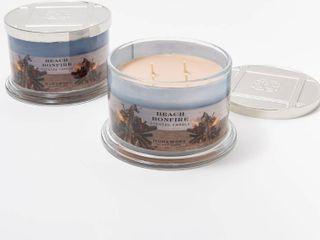 HomeWorx by Harry Slatkin Set of 2 Beach Bonfire 18 oz 4 Wick Candles