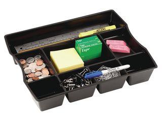 Black  Rubbermaid Black Plastic 9 compartment Deep Drawer Organizer   14 88 x 11 88 x 2 5