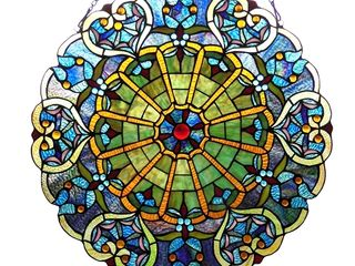 CHlOE lighting WIllA Tiffany glass Victorian Window Panel 23