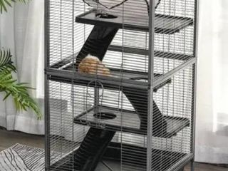 Grey  PawHut Rolling Small Animal Cage Pet Mink Chinchilla Small Cat Hutch Pet Play House with Platform  Ramp Removable Tray   Grey  Retail 115 49