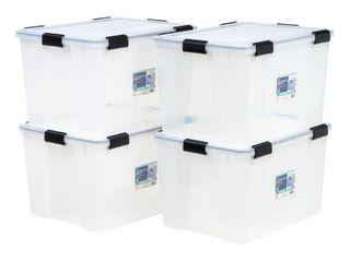 Clear  IRIS 74 qt  Weathertight Plastic Storage Bin  Pack of 4  Retail 106 99