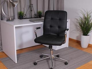 Porch   Den Moreland Modern Chrome Faux leather Office Chair