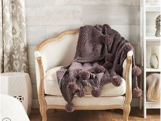 Peace love World 60  x 80  Super Oversized Knit Throw with Pom Poms