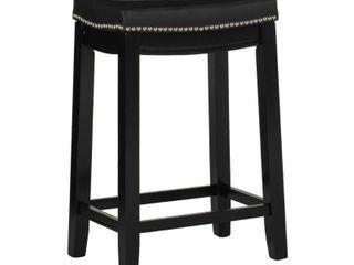 Set of 2 Padded Saddle Seat Barstool Hardwood Black   linon