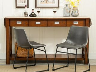 As Is   Roundhill Furniture lotusville Vintage PU leather Dining Chairs  Antique Brown  Set of 2