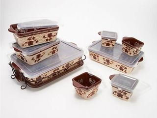 Temp tations Floral lace 10 pc Basketweave Bakeware Set