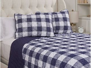 Home reflections printed king quilt set navy plaid