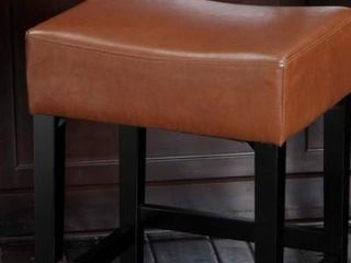 lopez 27 inch Backless Hazelnut leather Counterstool by Christopher Knight Home