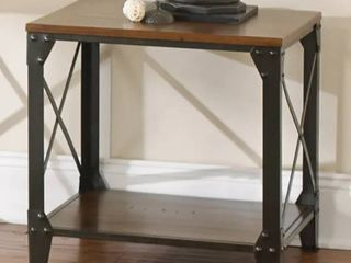 Carbon loft Fischer Solid Wood and Iron Rustic End Table  Retail 174 99