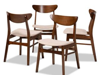 Set of 4 Parlin Dining Chair light Beige Walnut   Baxton Studio