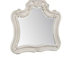 White   Dresser Top Mirror with Arched Top and Curved Details  White and Silver  Retail 595 49