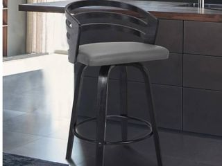 Carbon loft Evan Swivel Bar Stool in Black Brush Wood and Grey Faux leather  Retail 149 99